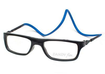 correa azul - frente negro brillo